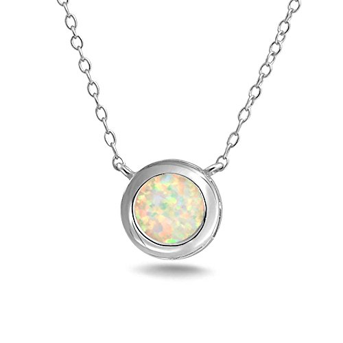 (1CT Solitaire Round Bezel Set White Rainbow Created Opal Pendant Necklace For Women Sterling Silver October Birthstone)