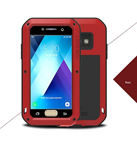 Case for Samsung Galaxy A5/A520 2017,Love Mei Outdoor sport waterproof Shockproof Dirtproof with Glass Heavy Duty Protective Hard Shell Aluminum Metal Cover with 5.2