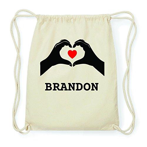 JOllify BRANDON Hipster Turnbeutel Tasche Rucksack aus Baumwolle - Farbe: natur Design: Hände Herz