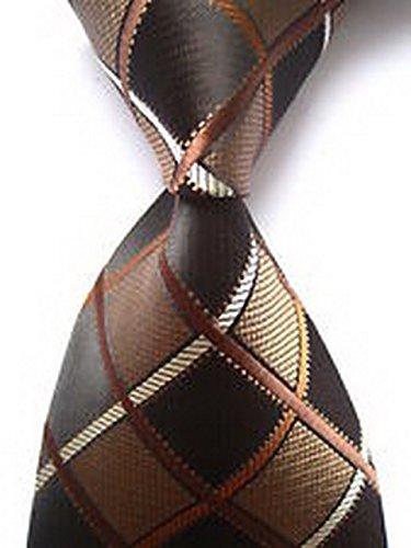 jacob alex #44926 Classic Checks Brown Beige JACQUARD WOVEN Mens Tie Necktie