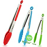 Walfos BPA Free Food Tongs Silicone Tip, Premium Sturdy 12-inch ,9-inch 7-inch Stainless-Steel Locking Kitchen Tongs Cooking, Barbecue, Salad, Grilling, Frying, Set of 3