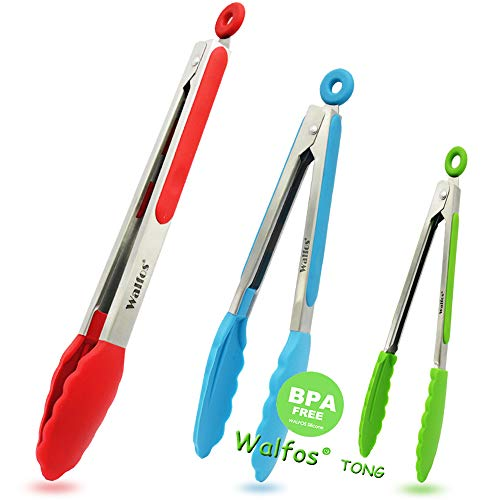 702014857090 Walfos BPA Free Food Tongs with Silicone Tip