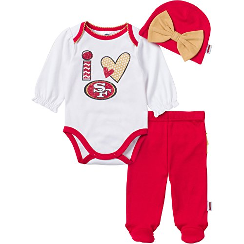 NFL San Francisco 49ers Girls Long Sleeve Bodysuit, Footed Pant & Cap Set (3 Piece), 3-6 Months, Red