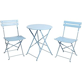 Finnhomy 3 Piece Outdoor Patio Furniture Sets, Outdoor Bistro Sets, Steel  Folding Table And