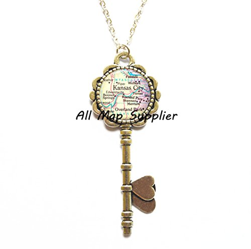 Charming Key Necklace Kansas City Key Necklace, Kansas City Key Pendant, Overland Park Key Pendant, map jewelry, map Key Necklace, map jewellery,A0006