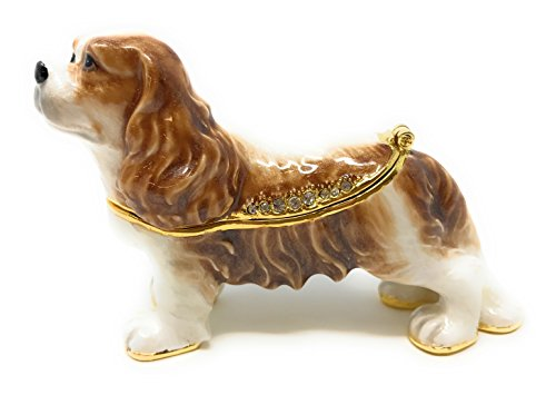 (Kubla Craft Enameled Cavalier King Charles Spaniel Trinket Box, Accented with Austrian Crystals)