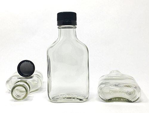 100 ml (3.3 oz) Glass Flask Liquor Bottle with Black Caps (12 Pack) (Whiskey Flask Bottle)