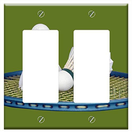 Switch Plate Double Rocker/GFCI - Shuttlecock Racket Badminton Game Sport Racquet