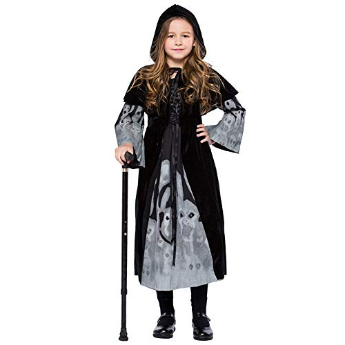 FEDULK Children Halloween Costume Cosplay Ball Party Hooded Luminous Dress Festival Evening Party Shawl Suit(Black, X-Large)