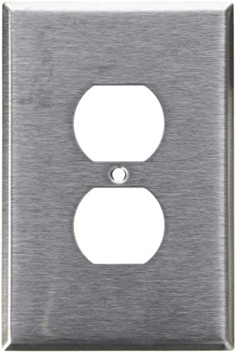 Leviton 84103 1-Gang Duplex Device Receptacle Wallplate, Oversized, Device Mount, Stainless Steel, 25-Pack