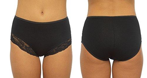 2-4packs Womens/Ladies Control de ropa interior Breifs algodón elástico con encaje, varios colores y tamaños 4 Pack Black