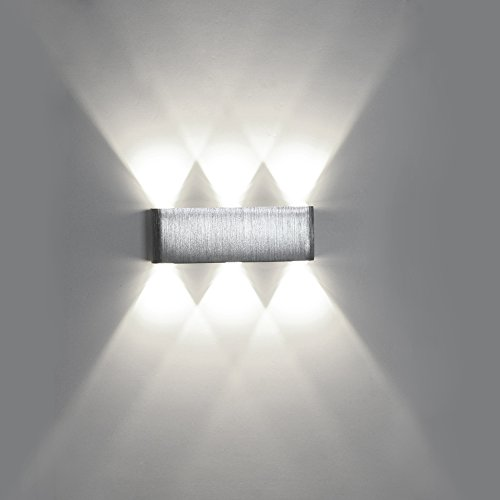 Houkiper Up Down Wall Light 6W 6-LED Aluminum Modern Cuboid Wall Scone Light Fixture Indoor Outdoor Decoration Lamp for Theater Studio Store Hall Porch Corridor (Cool)