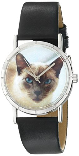 Whimsical Unisex Jewelry (Whimsical Watches Kids' R0120055 Classic Siamese Cat Black Leather And Silvertone Photo)