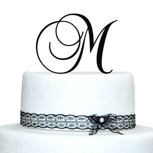 Black Laser-Cut Monogram Letter Initial Wedding Favor Birthday Party Cake Topper (C)