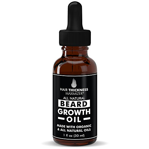 Best Organic Beard Oil For Men by Hair Thickness Maximizer. For Mens Natural Beard Growth + Grooming. Also Great As Mustache Oil. Oils - Argan, Jojoba, Moringa, and more! (2 oz)
