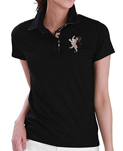 7424 ブラック LL カモフラ柄貼り付けポロシャツ ミニ裏毛 DELSOL GOLF ゴルフウェア レディース 大きいサイズ ブラック
