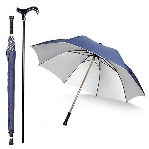 Handmade Umbrella - Saiveina 2-in-1 Separable Walking Stick Umbrella, Windproof UV Protection Cane Umbrella (Navy Blue)