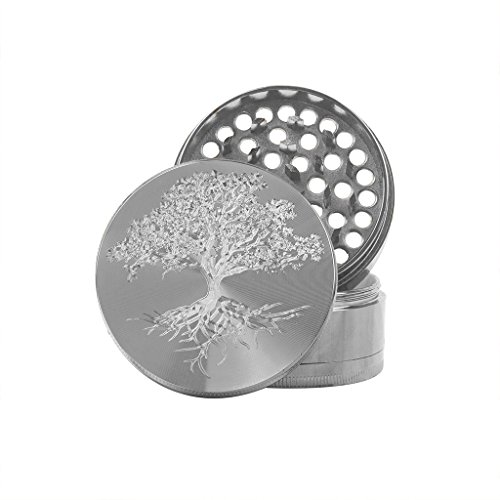 Hakuna Supply Premium Gunmetal Hand Grinder - Rotary Engraved, Herb Grinder, Keef Pollen Catcher and Keef Pollen Shovel (Tree of Life) ()