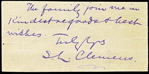 """Samuel L. """"Mark Twain"""" Clemens – Autograph Note Signed"""