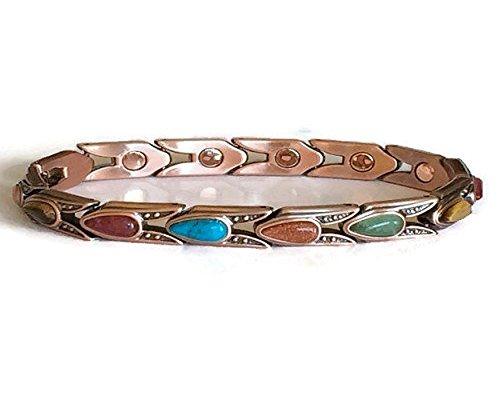Multi Stone Magnetic Bracelet (Ladies Therapy Magnetic Copper Multi-Stone Bracelet)