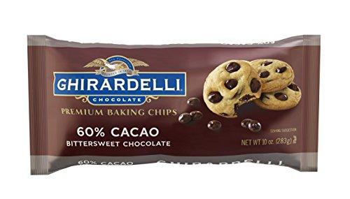 Bittersweet Cacao Chocolate 60% (Ghirardelli Chocolate Baking Chips, Bittersweet Chocolate, 10 oz,(Pack of 6))