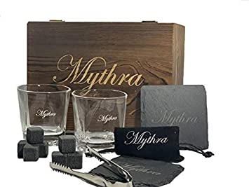 Whiskey glass set and Whiskey stones gift set 8 granite soap stone, 2 stone coasters, 1 Scotch rock tongs, 1 velvet bag Perfect fathers day gift Christmas holiday gift Wedding gifts By Mythra
