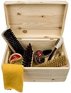 zapato cuidado Pinewood Caja -Verona- con kiwi betún, cepillos y más cuidado accesorios, profesional zapato brillante kit - FSC 100%: Amazon.es: Bricolaje y herramientas
