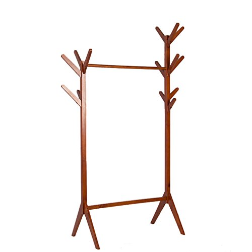 HUANGDA Coat Rack Simple Modern Solid Wood Bedroom Hanger, Home Double Shelves, Walnut, Height 175 cm Long 82 cm