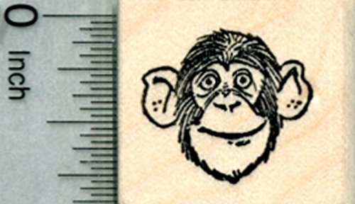 Chimpanzee Rubber Stamp, Small Chimp Face (Face Chimp)