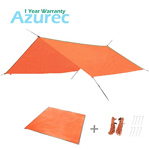 Azurec Outdoor Waterproof Camping Tent Footprint Tarp Groundsheet Blanket Mat for Sunshade Shelter Canopy Shade Rain (Orange+Accessories, 84.6 x 84.6 inches)