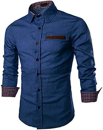 JINIDU - Camisa de vestir casual con botones para hombre Azul azul celeste 3XL: Amazon.es: Ropa y accesorios
