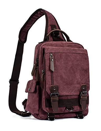 Leaper Canvas Messenger Bag Sling Bag Cross Body Bag Shoulder Bag Red, M