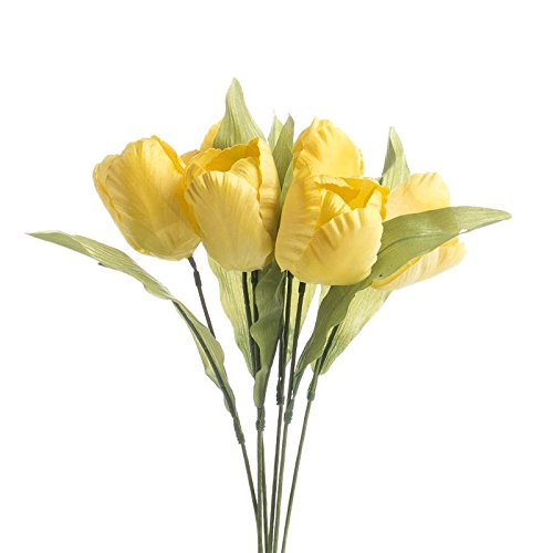 Parrot Stem Tulip (Factory Direct Craft Group of 12 Colorful Yellow Artificial Parrot Tulip Floral Stems for Decorating, Arranging, and Creating)