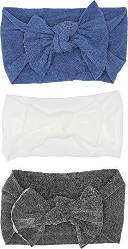 Baby Bling Baby Girl's 3-Pack Boxed Knots (Infant/Toddler) Char/White/Denim One ()