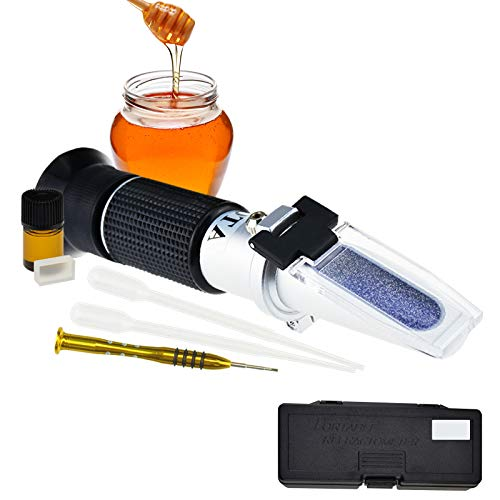 DANOPLUS Honey Moisture 58~90% Brix Refractometer with ATC, Handheld High Measuring Range Sugar Content, Honey, Jelly, Jam and Syrup
