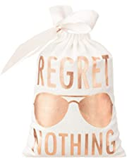 """10pcs White Wedding Party Favor Bags 5x7 Inch Rose Gold Foil""""Regret Nothing"""" Bridesmaid Gift Bags for Bridal Shower Bachelorette Hangover Kit Bags Recovery Kit Bags Cotton Muslin Drawstring Bag"""