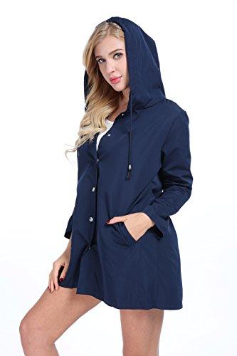 FISOUL Womens Raincoats Waterproof Lightweight Hooded Active Outdoor Rain Jacket by FISOUL (Image #2)