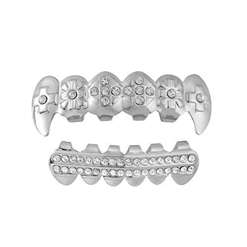 Braces Denture Teeth-Serrated Cosmetic Teeth for Dental Beauty1 Set Gold Plated Hip Hop Teeth Grillz Top & Bottom Grill Teeth Grills Fashion ()