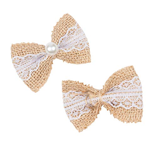 t Lace Burlap Bows for Wedding Embellishments and DIY Crafts, 2.75 x 1.9 Inches ()