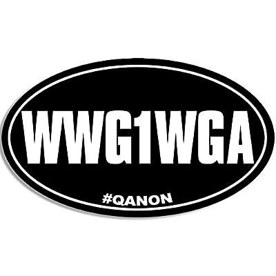 American Vinyl Oval WWG1WGA Sticker (Where we go one we go All q qanon Trump GOP): Automotive