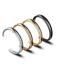 Hair Tie Bracelet High Polishing Stainless Steel Grooved Cuff Bangle for Women Girls