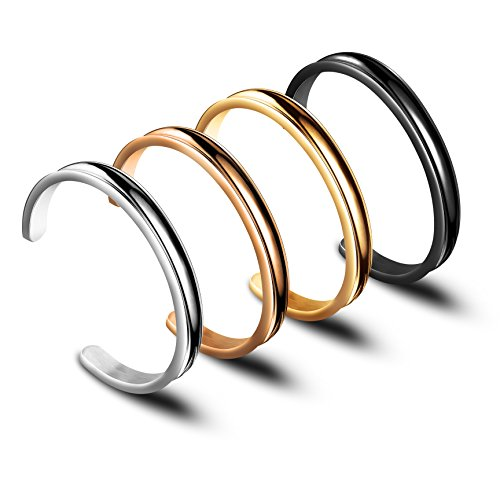 Zuo Bao Hair Tie Bracelet Stainless Steel Grooved Cuff Bangle for Women Girls (4 -