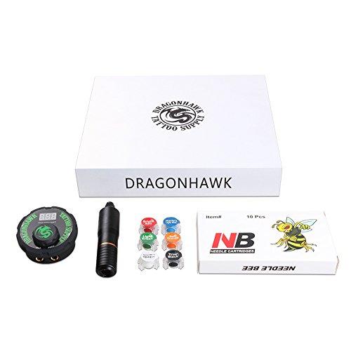Dragonhawk Atom J2 Cartridge Tattoo Machine Kit Pen Rotary Tattoo Machine Cartridge Needles Airfoil Power Supply for Tattoo Artists 13-8 by Dragon Hawk