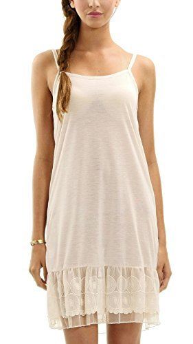 MELODY [Shop Lev] Women's Knit Full Slip with Circle Lace for Lengthening (Ivory, Large)