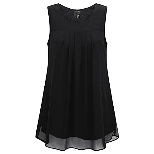 Fleasee Women's Sleeveless Chiffon Tank Top Double Layers Casual Flowy Tunic Blouse