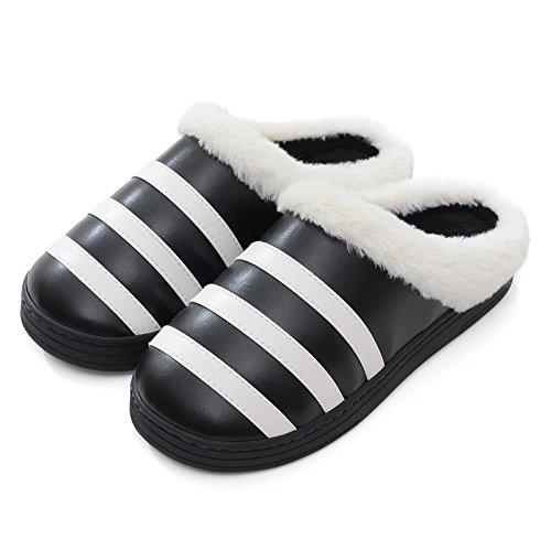 LaxBaMesdames Accueil Marbre Chaussons doux semelle dCotton-Padded Shoesblack agréable 40-41