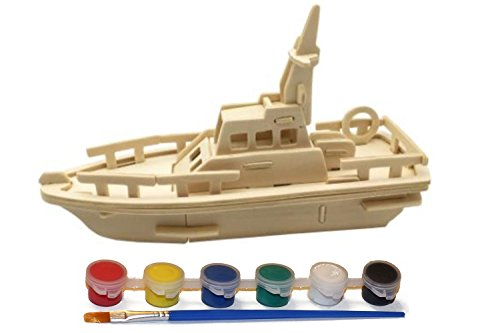 Original Hobby Wood Craft 3D Puzzle (Lifeboat) with 6 Paint Colors from Original Hobby