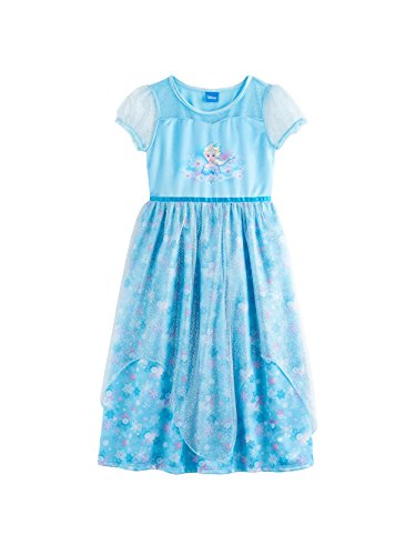 Disney Frozen Elsa Anna Girl's Fantasy Gown Nightgown Pajamas (4, Blue)