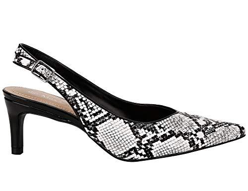 (MaxMuxun Women Shoes Classic Slingback Kitten Heels Dress Pump (9 US, Snake Prints White))