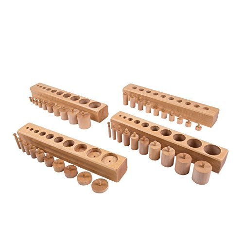 Montessori Sensorial Materials Cylinder Blocks (set of 4) - Beechwood for Toddler Early Learning Toy